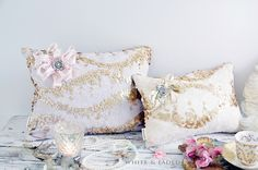 Beautiful sequin cushions from White & Faded
