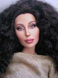 Cher Custom painted Barbie Doll Repaint by Pamela Reasor Bob Mackie, Pretty Dolls, Beautiful Dolls, Ooak Dolls, Art Dolls, Vintage Barbie, Barbie Celebrity, Celebrity Portraits, Jolie Photo