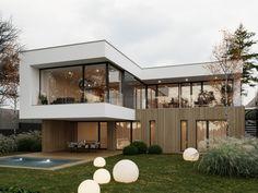 Zahorska on behance modern architecture, home projects, building a house, i Villa Design, Facade Design, Exterior Design, Modern Architecture House, Modern House Design, Architecture Design, Flat Roof House, Facade House, Fachada Colonial
