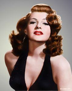 Rita Hayworth at the height of her fame and beaty. Late 40's to early 50's in colour.