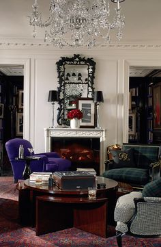 A tailored living room of menswear-inspired upholstery from Ralph Lauren Home.