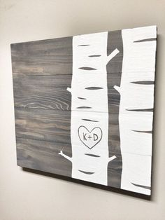 This Rustic Birch Tree with initials is a unique piece for your home or office! Makes a great custom gift! Hand painted white Birch trees with #rusticwoodfurniture
