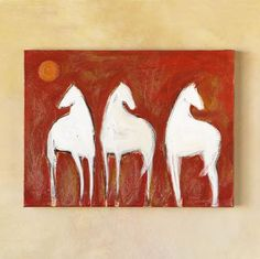 "Fascinated by the wild horses of the Camargue, now protected and allowed to run freely in the south of France, California artist Karen Bezuidenhout captures their fierce beauty in this stirring trio of pale, gleaming silhouettes against sunstruck plains. Acrylic on canvas. 20""W x 16""H. One-of-a-kind, subject to prior sale. Additional shipping, $75."