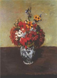 Dahlias In A Delft Vase - Paul Cezanne