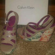 Calvin Klein wedges sz. 6.5 Adorable! Light taupe, with leaves in green, orange and purple. I wish they were my size! Calvin Klein Shoes Wedges