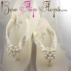 Bridal Pearl Wedge  Ivory White Flip Flops Heel by BridalFlipFlops, $48.00