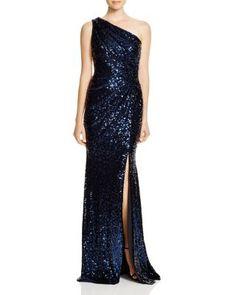 Navy Blue One-Shoulder Sequin Gown, Badgley Mischka  | Bloomingdale's