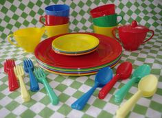 1960s Plastic Picnic Dishes Set Red Blue Yellow by soldiersuzanne
