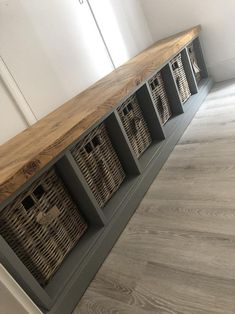 Painted Shoe Rack Storage Bench with 6 Baskets *Entrance Porch Reception Hallway Grey Blue *choose colour* BASKETS INCLUDED - trophy. Bench With Shoe Storage, Shoe Rack Bench, Window Storage Bench, Shoe Racks, Rustic Storage Bench, Raw Furniture, Window Benches, Mud Room Benches, Modern Window Seat