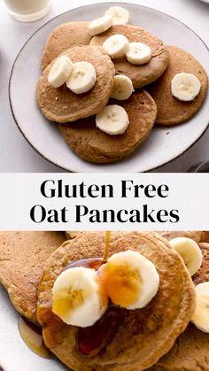 Oat Flour Recipes, Vegan Pancake Recipes, Oats Recipes, Oat Flour Flatbread Recipe, Vegan Recipes, Gluten Free Pancake Recipe Easy, Dairy Free Pancakes, Gluten Free Recipes For Breakfast, Healthy Breakfasts