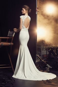 best=Open Back Wedding Dress Style 2083 Mikaella Bridal , Stay on trend with this beautiful prom dresses at Prom Dress Shop. Crepe Wedding Dress, How To Dress For A Wedding, Open Back Wedding Dress, Bridal Wedding Dresses, Crepe Dress, Wedding Dress Styles, Lace Dress, Bridal Style, Wedding Bells
