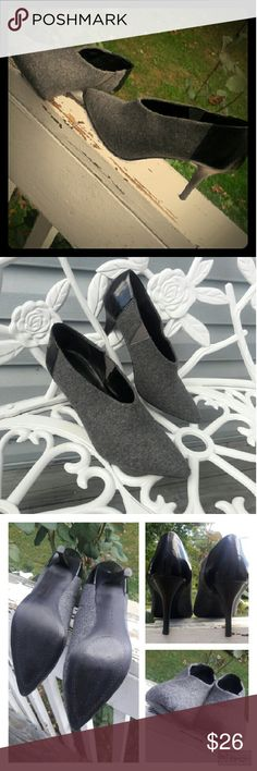 """??Sleek Black and Grey Heeled Booties by Tahari?? Tahari has created the Korin, the perfect transitional shoe for you! This menwear inspired shootie will bring sleek sophostication to your office look!  ? Flannel fabric & patent leather upper ? Slip-on styling with elastic stretch panel ? Pointed toe ? Cushioned insole3?"""" wooden heel ? Synthetic soleImported  ???? Excellent Condition ???? Tahari Shoes Ankle Boots & Booties"""