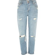 River Island Light blue ripped Ashley boyfriend jeans ($84) ❤ liked on Polyvore featuring jeans, pants, blue, bottoms, calças, boyfriend / slouch jeans, women, distressed boyfriend jeans, distressed jeans and mid rise boyfriend jeans