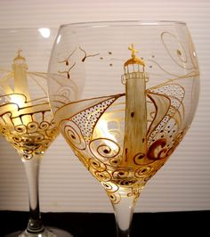 Gorgeous!!  Hand Painted Wine Glass Painted Lighthouse by skyspirit8studios, $37.00