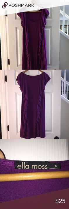 Ella Moss Dress Gorgeous purple. Hits above knee. Stretchy, soft jersey material. Worn one time. There's a spot at the neckline where it has come unsewn. Can be easily fixed and not noticeable. Ella Moss Dresses