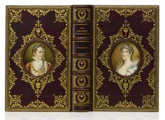 A sumptuous Cosway binding by Rivière and Son, in burgundy crushed morocco, the panels decorated in dentelle style, the foliated cartouches front and back surrounding a fine portrait by Miss C. B. Currie of Josephine based on a nineteenth-century engraving for The Lady's Magazine (1770–1830),
