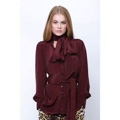 Silk Button-Down Shirts in Burgundy Brown | Shahida Parides - Shahida... (890 SAR) ❤ liked on Polyvore featuring tops, brown top, collar top, silk button down shirt, color block tops and burgundy top