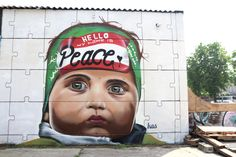 """""""Hello my name is Peace"""" Brussels / Belgium 2016    Reflections of the will from children of Palestine and Israel. #peace #kasart #puzzle #children #streetart"""