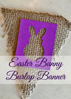 With just burlap, paint and a few strips of fabric you can create a beautiful banner that is perfect for your spring home decor.