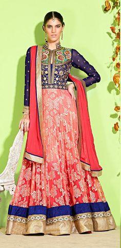 USD 97.16 Purple and Peach Faux Georgette Pakistani Salwar Suit 31527