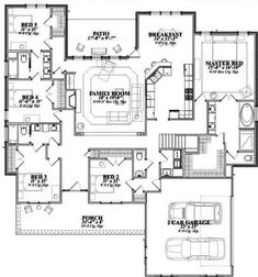 ** 12/27/17** Southern Style House Plan - 5 Beds 3.00 Baths 2740 Sq/Ft Plan #63-164 Floor Plan - Main Floor Plan - Houseplans.com House Plans One Story, Ranch House Plans, Bedroom House Plans, Country House Plans, House Floor Plans, Jack And Jill Bathroom, Building A House, Build House, Building Ideas