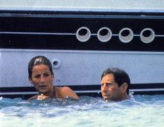 Princess Diana swimming with Charles