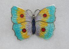 Multicolored Guilloche Enamel Sterling Silver Butterfly