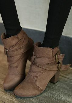 New Women Brown Round Toe Chunky Double Buckle Casual Ankle Boots