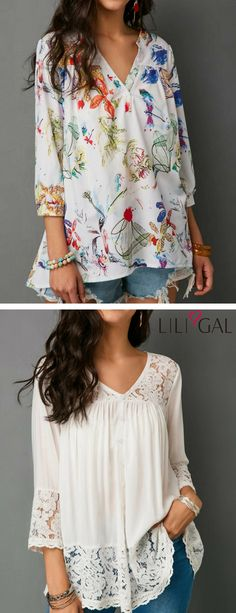 cute blouses for women features, floral print, v neck, loose fitting, lace panel, button up, pleated, white blouse.    #liligal #blouse #shirts #top #womenswear #womensfashion