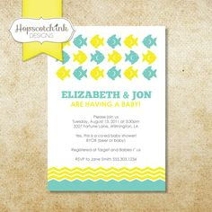 Fish on Parade Invitation - Baby Shower or Birthday - Choose your own Color - Printable. $15.00, via Etsy.