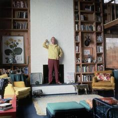 Truman Capote At Home by Horst P. Horst Notice Navy beside Teal. And many yeas ago. Les Hamptons, Hamptons House, Home Fireplace, Brick Fireplace, Holly Golightly, Thing 1, The New Yorker, Long Island, Island Beach