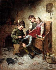 Getting Ready For School - The Big Brother ~ Edmund Adler (1876 – 1965, Austrian)