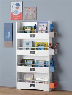 Bücherregal mit Schiefertafeln zum Beschriften WEISS