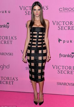 Sex appeal: Alessandra Ambrosio showed off her ample assets as she donned a fitted beaded black dress following the Victoria's Secret Fashion Show in London on Tuesday
