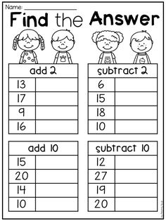 Grade Addition and Subtraction Worksheets First grade addition and subtraction worksheet for first grade. Students add subtract add 10 and subtract grade addition and subtraction worksheet for first grade. Students add subtract add 10 and subtract Mental Maths Worksheets, First Grade Math Worksheets, School Worksheets, 1st Grade Math, Kindergarten Math, Teaching Math, Grade 1 Worksheets, Teaching Money, Preschool