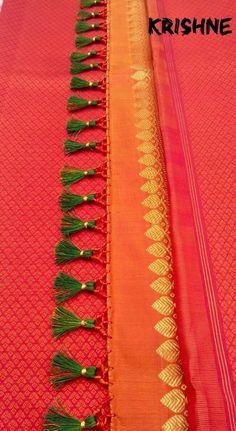 Saree Tassels Designs, Saree Kuchu Designs, Silk Saree Blouse Designs, Saris, Silk Sarees, Stylish Blouse Design, Designer Blouse Patterns, Saree Collection, Crochet Designs