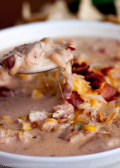 Jalapeño Popper Chicken Chili - very good flavor! Quite spicy, but the cream cheese helps tone it down. Used 4 de-seeded jalapeños, a bit too hot for hubby but perfect for me!