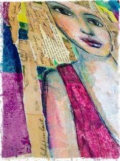 In progress - Mixed-media portrait by Rachelle Panagarry  Art Eye Candy