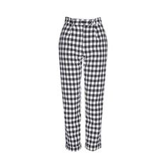 TopShop Gingham Mensy Trousers ($75) ❤ liked on Polyvore featuring pants, navy blue, high waisted pants, high rise trousers, navy pants, high-waisted trousers and high-waisted pants