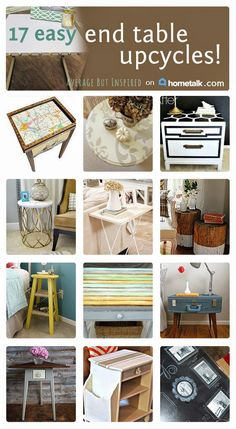 These end table upcycles are so beautiful, I almost don't believe they're NOT brand new pieces! You have to see that spool idea--AMAZING!