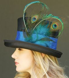 Top Hat Mad Hatter Kentucky Derby Black & Peacock Hat.