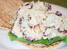 Chicken salad with Greek Yogurt! I made this for lunch today it's amazing! Canned chicken,a small spoonful of greek yogurt, onion, almonds,sliced grapes, lemon pepper and I ate it on a pita! Sooo good