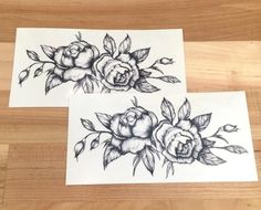 """Vintage fans will love our Black Roses Temporary Tattoo. This custom tattoo is a detailed design of black roses and is perfect for everyday use. - Tattoo Size 3"""" x 6"""" - 2 Tattoos Included"""