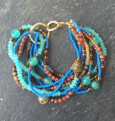Gorgeous Multi Strand Wrap Bracelet / Fall Fashion Jewelryby YellowMangoStudio