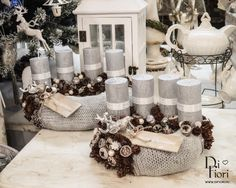 Christmas Advent Wreath, Christmas Decorations, Xmas, Table Decorations, Vintage Lace, Wreaths, Furniture, Home Decor, Crowns