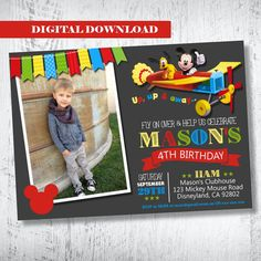 Mickey Mouse Airplane Photo Invitation.Mickey Mouse by WBevents