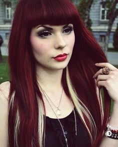 Cherry Wine Hair Color | just wish my hair would take this cherry red color!..the makeup is ...
