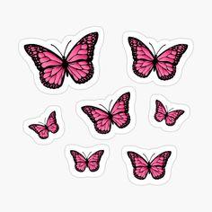 Preppy Stickers, Cute Laptop Stickers, Bubble Stickers, Phone Stickers, Cool Stickers, Printable Stickers, Planner Stickers, Butterfly Wallpaper, Pink Butterfly