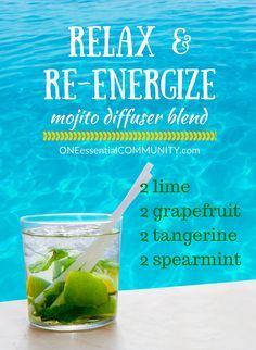 15+ of the best essential oil recipes and blends for spring-- Everybody loves a citrus mojito!! Diffuse lime, grapefruit, & tangerine, in your diffuser with a touch of spearmint. Then let your memories drift back to the islands. Great way to relax and re-energize!