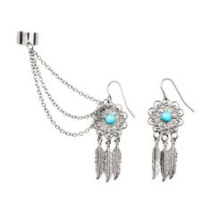Hematite with Turquoise Filigree Flower Dream Catcher Ear Cuff, Chain and Drop Earring Set of 2